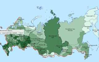Плотность населения России по регионам и городам на квадратный километр